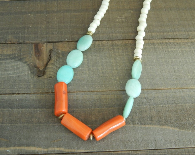 Featured listing image: Amazonite and orange coral necklace, summer jewelry, statement necklace, bone beads