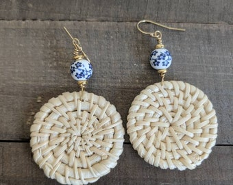 Chinoiserie and rattan woven earrings, beach boho, summer fashion, blue and white earrings