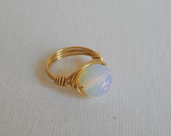 Wire wrapped opalite ring, gold wire wrapped ring, boho style, everyday ring, festival chic jewelry, white and gold, gold wire