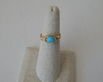 Wire wrapped blue czech glass ring, boho style, everyday ring, festival chic jewelry, dainty ring