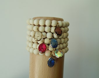 White wood beaded stretch bracelet with crystal bezel charm, beach chic, neutral, summer fashion, stacking bracelet, earthy organic jewelry,