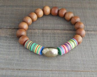 READY TO SHIP African vinyl and sandalwood bead bracelet, brass nugget, boho bracelet, colorful bracelet, summer jewelry