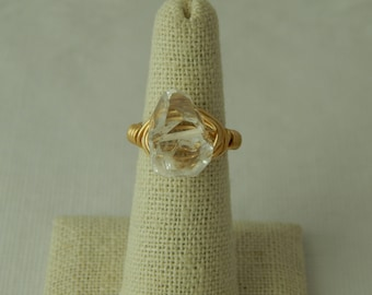 Gold wire wrapped faceted crystal quartz nugget ring, boho style, festival jewelry, beach chic, trendy, handmade ring, statement ring