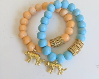 Dyed bone beads with gold plated discs, animal charm, stacking bracelet, summer jewelry