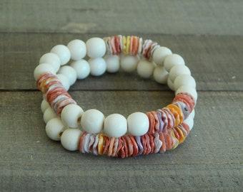 READY TO SHIP Shell bracelet with white wood beads, organic jewelry, beach boho, pectin shell, boho stack