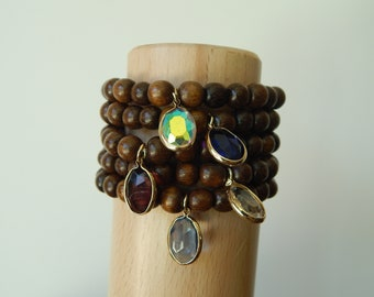 Robles wood beaded stretch bracelet with crystal bezel charm, beach chic, neutral, stacking bracelet, earthy organic jewelry,