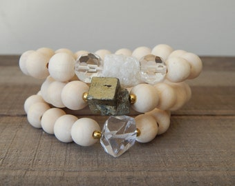 Raw wood beaded stretch bracelet with crystal nugget, beach chic, neutral, summer fashion, stacking bracelet, earthy organic jewelry,