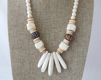Natural wood bead necklace with sea urchin spikes and bone beads, boho necklace, brown and white, large bone beads, beach chic jewelry