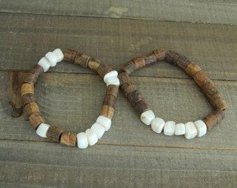READY TO SHIP Shell and brown wood bead bracelet set, organic jewelry, beach boho, boho stack