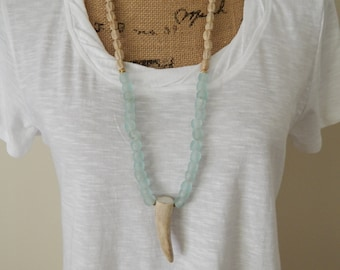 Antler necklace with recycled glass and natural wood beads, beach chic, boho style, resort wear, summer fashion, layering necklace