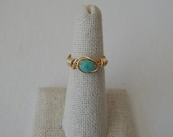Dainty gold wire wrapped turquoise czech glass bead ring, boho style, everyday ring, festival chic jewelry, dainty ring