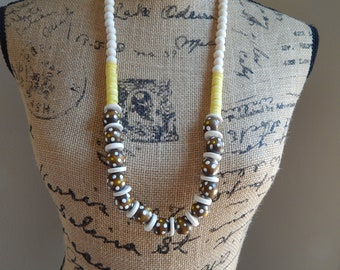 READY TO SHIP Wood bead necklace, layering necklace, beach boho jewelry, brown and yellow necklace