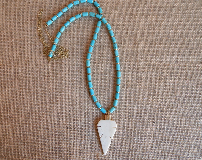 Featured listing image: Beige bone arrowhead necklace with turquoise and brass beads, layering necklace, beach chic, neutral, boho style, brass nuggets