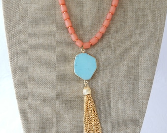 READY TO SHIP Coral beaded necklace with gold tassel and turquoise connector, boho necklace, gold plated chain, layering necklace