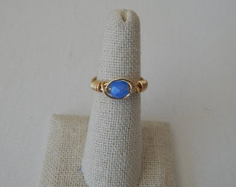 Wire wrapped aqua blue czech glass ring, boho style, everyday ring, festival chic jewelry, dainty ring