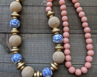 Chinoiserie beads with coral wood beads and cork beads, beach boho, summer trends