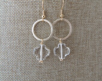 Crystal quatrefoil with brushed gold hoop earrings, beach chic, boho style, summer jewelry, festival fashion,dangle earrings