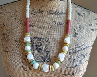 READY TO SHIP White geometric wood beads with fused glass beads, boho necklace, beach chic jewelry
