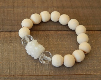 Raw wood stretch bracelet with white druzy and crystal beads, beach chic, neutral, summer fashion, druzy chunk, stacking bracelet