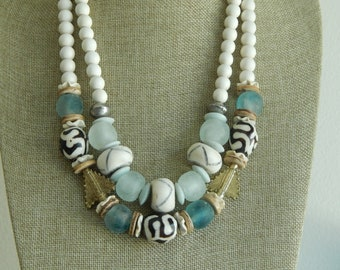 White wood bead necklace with bone beads, boho necklace, beach chic jewelry, recycled seaglass, african brass