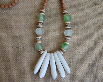 Natural wood bead necklace with sea urchin spikes, bone beads, and recycled glass beads,beach chic, boho style, neutral, beach boho necklace
