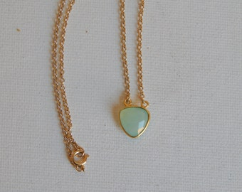 Petite triangle chalcedony necklace with 14kt gold filled chain, beach chic style, boho chic fashion, seafoam green pendant