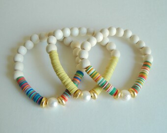 READY TO SHIP African vinyl with freshwater pearl, boho bracelet, colorful bracelet, summer jewelry