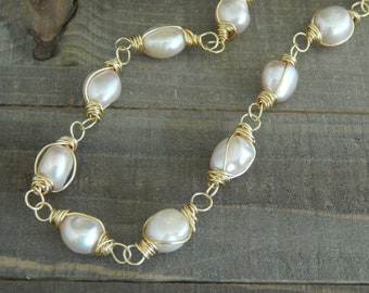 Freshwater pearl on leather, beach chic, boho style, summer fashion, white pearls