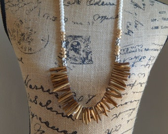 READY TO SHIP White and gold wood bead necklace, coral stick beads, painted bone beads