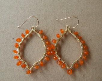 Gold dangle earrings with carnelian, statement earrings, dangle earrings, boho jewelry, beach chic, trendy jewelry, teardrop shape