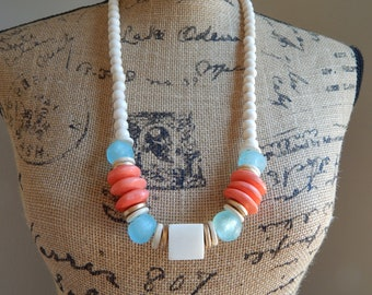 READY TO SHIP White geometric bone bead necklace, beach chic, boho necklace, statement jewelry