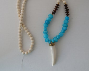 Long aqua blue jade necklace with a horn pendant, layering necklace, beach chic, neutral, spring fashion, tusk necklace, gift for her