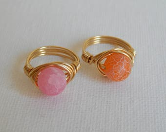 Matte agate gold wire wrapped ring, boho style, everyday ring, festival jewelry, pink and gold, orange and gold, beach chic jewelry, trendy