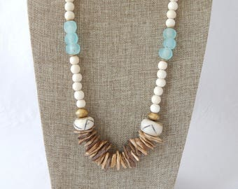 Natural wood bead necklace with coconut wood slices and aqua blue recycled glass, boho necklace, large bone beads, beach chic jewelry