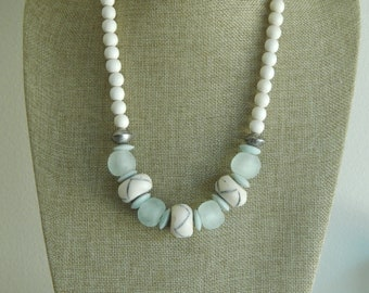 READY TO SHIP White wood bead necklace with bone beads, boho necklace, beach chic jewelry, recycled seaglass
