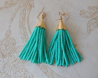 SALE Seafoam green beaded tassel earrings, mini tassels, statement jewelry, dangle earrings, seed bead, boho style, trendy