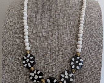 White wood beads with bone beads, boho necklace, beach chic jewelry, black and white