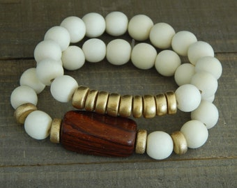 Beaded wood bracelet stack, beach chic, neutral, summer fashion, gold wood, bamboo wood