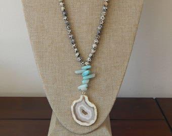 Beige druzy necklace with amazonite and dalmatian jasper, bohemian style jewelry, druzy geode, layering necklace, summer jewelry
