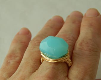 Gold wire wrapped aqua blue chalcedony nugget ring, boho style, everyday ring, festival chic jewelry, trendy summer jewelry, statement ring