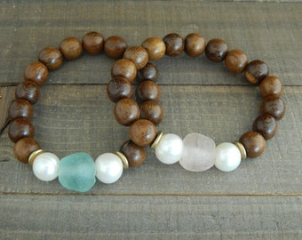 Recycled seaglass and freshwater pearl bracelet, wood bead bracelet, boho bracelet, summer jewelry