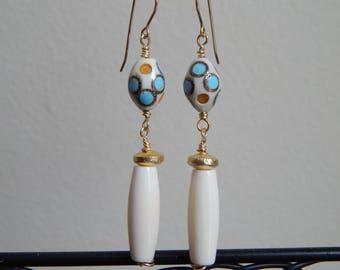 White bone dangle earrings with gold accents, camel bone earrings with turquoise, handmade jewelry, boho earrings, summer jewelry