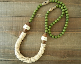 Coconut wood and green wood necklace, beach boho necklace, long layering necklace, boho style, neutral jewelry, earthy, brass beads