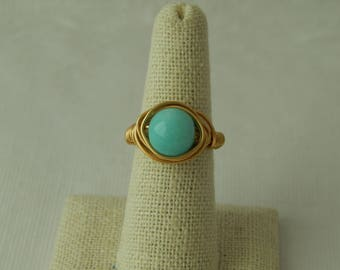 Gold wire wrapped amazonite ring, boho style, everyday ring, festival jewelry, beach chic jewelry, spring jewelry, bridesmaid gift
