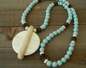 Light blue wood bead necklace with bone pendant, beach chic, boho style, neutral, beach boho necklace, blue and beige