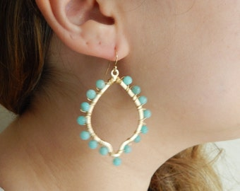 Gold dangle earrings with amazonite, statement earrings, dangle earrings, boho jewelry, beach chic, trendy jewelry, marquis shape