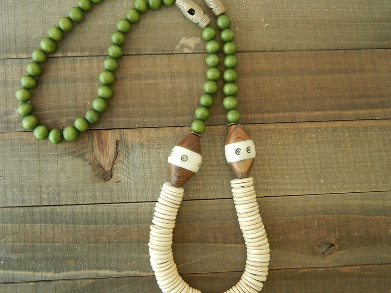 boho style earthy beach boho necklace neutral jewelry brass beads long layering necklace Coconut wood and green wood necklace