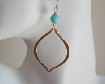 Brushed gold earrings with aqua blue gemstone, beach boho. dangle drop earrings, festival chic jewelry, bohemian style jewelry, beach chic