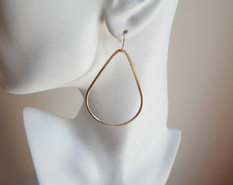 Brushed gold large tear drop shape earrings, statement earrings, dangle earrings, boho jewelry, beach chic, trendy earrings
