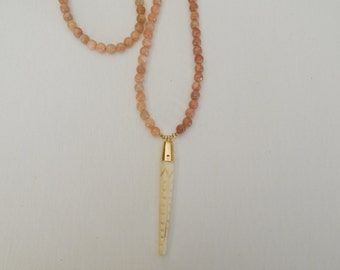 Carved bone spike with gold vermeil cap sunstone necklace, neutral, layering necklace, bohemian style, beach chic, long necklace